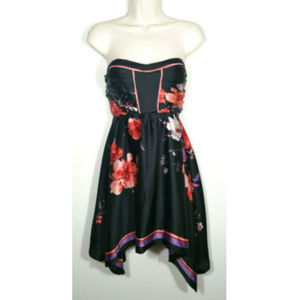 2b BEBE Floral Strapless Hi-Lo Flare Dress 2263E1